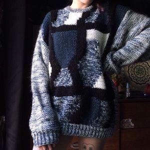 Lunar Night Sky✨Blue tones vintage grandpa sweater